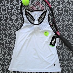 NWT PRINCE Athletic White Racerback Tank Top